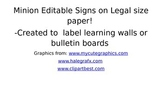 Minion Legal Size Editable Classroom Signs and Decoration