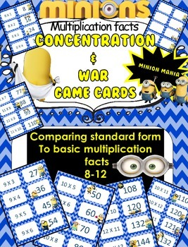 Minion Multiplication facts (8-12)  Concentration & War Ca
