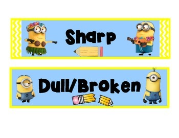 Minion Pencil Basket Labels Sharp & Dull/Broken