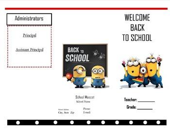 Minion Welcome back to school brochure** Editable