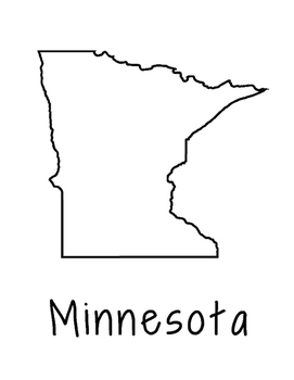 Minnesota Map Coloring Page Activity - Lots of Room for No