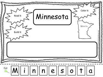 Minnesota Read it, Build it, Color it Learn the States pre