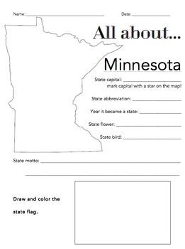 Minnesota State Facts Worksheet: Elementary Version