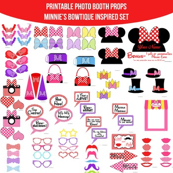 Minnie's Bowtique Inspired Printable Photo Booth Prop Set