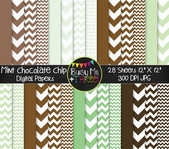 Mint Chocolate Chip Chevron Digital Papers {Commercial Use