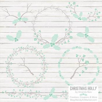 Mint Christmas Holly Clipart