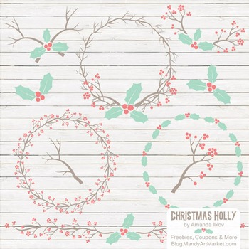 Mint & Coral Christmas Holly Clipart