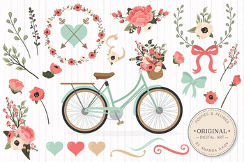Mint & Coral Floral Bicycle Vectors - Flower Clipart, Peon