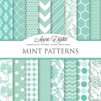 Mint Digital Paper patterns - bright color Mint Green scra