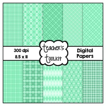 Mint Themed Digital Background Papers {8.5 x 11} Clip Art CU OK
