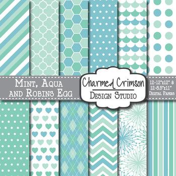 Mint Green, Aqua, and Blue Trio Digital Paper 1033