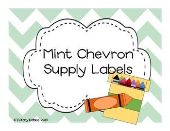 Mint Green Chevron Supply Labels
