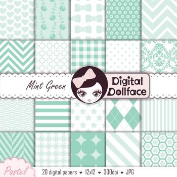 Mint Green Digital Paper / Pastel Background Patterns