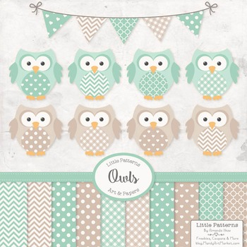 Mint Green Vector Owls & Papers - Baby Owl Clipart, Owl Cl