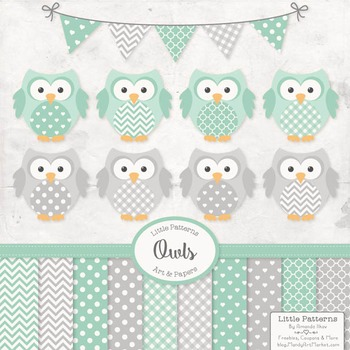 Mint & Grey Vector Owls & Papers - Baby Owl Clipart, Owl C