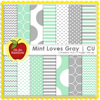 Mint Loves Gray {Papers for Commercial Use}