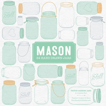 Mint Mason Jars Clipart & Vectors - Ball Jar Clipart