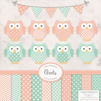 Mint & Peach Owl Vectors & Papers - Baby Owl Clipart, Owl