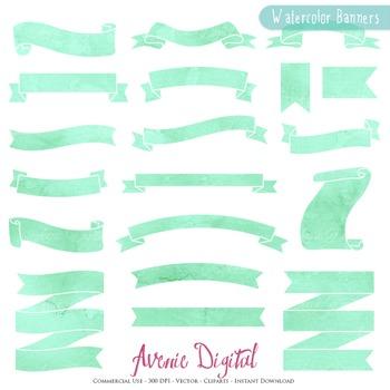 Mint Watercolor Ribbon Banners clip art - Green ribbons cl
