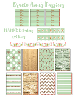 Mint and Gold Planner Stickers