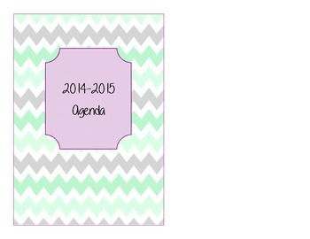 Mint and Purple Chevron 2014-2015 Weekly Planner - Small