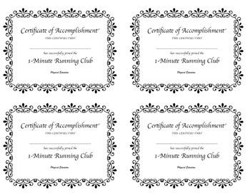 Minute Running Club Mini Certificates