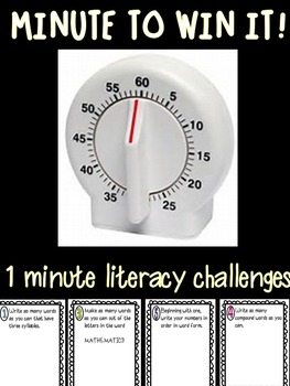 Minute to Win It Literacy Challenges