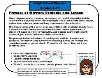 Mirror Foldables: Plane, Concave and Convex Lesson with pp