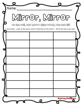 Mirror, Mirror - Sight Word Reflection Cards