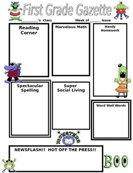 Mischievous  Monster Classroom Newsletter