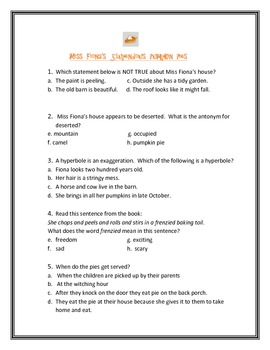 Miss Fiona's Stupendous Pumpkin Pies (Test/Answer Key)