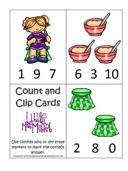 Miss Muffet themed Count and Clip Cards child math curricu