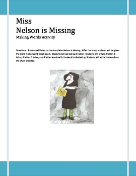 Miss Nelson Is Missing Making Words Activity