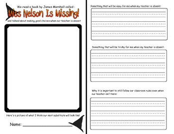 Miss Nelson Is Missing: Substitute Writing Activity