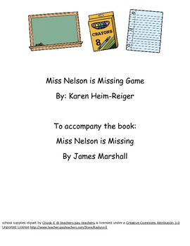 Miss Nelson is Missing Language Game