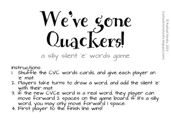 Miss Rachael's We've Gone Quackers! Silent 'E' Game {Magic