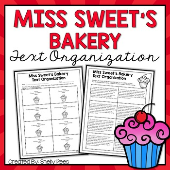 Text Organization Printable Activity: Miss Sweet's Bakery