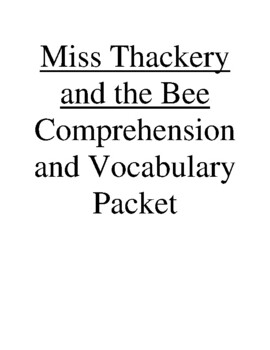 Miss Thackery and the Bee Guided Reading Unit Level P (Rig