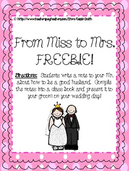 {FREEBIE} Miss to Mrs.~ A Book of Advice for the Husband-to-be!