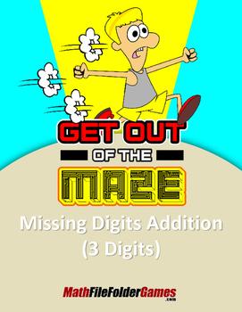 "Missing 3 Digits Addition Mazes ""Fun Math Worksheets"""