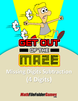 """Missing 4 Digits Subtraction Mazes """"Fun Math Worksheets"""""""