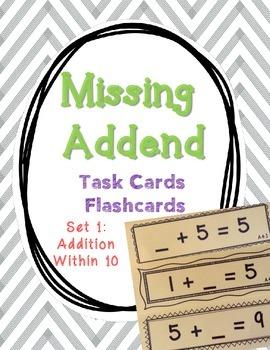 Set 1 - Missing Addend Task Cards or Flashcards (Addition