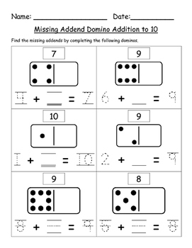 Missing Addend Domino Addition