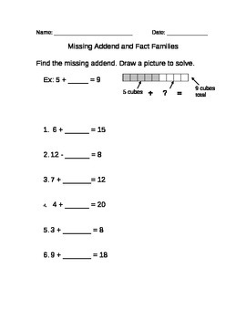 Missing Addend, Fact Families, and Word Problems