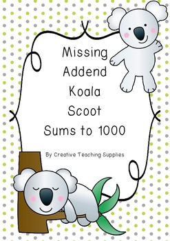 Missing Addend Koala Scoot - Sums to 1000