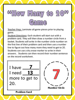 Missing Addend Math Center Game: How Many to 20?