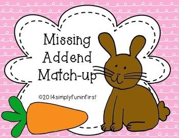 Missing Addend Match-up {1.OA.8}