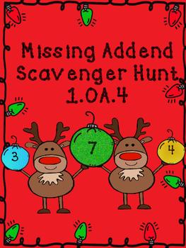 Christmas Missing Addend Scavenger Hunt