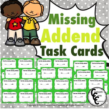 Missing Addend Task Cards Green and White Dots Background