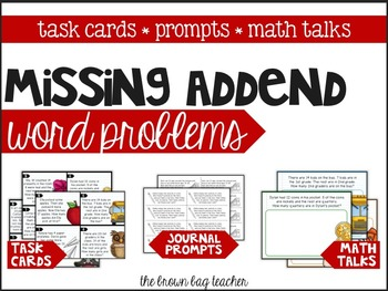 Missing Addend Word Problems: Task Cards, Notebook Prompts